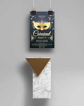 カーニバルパーティーのモックアップと抽象的なミニマリストオブジェクト