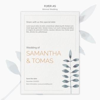 かわいい最小限の結婚式招待状のチラシ