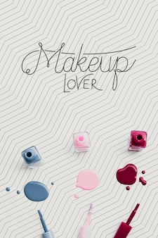 Красочный лак для ногтей макияж концепт макет