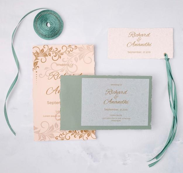 ロマンチックな結婚式の招待状のコンセプト