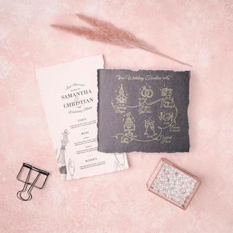 文房具の結婚式の招待状のコンセプト