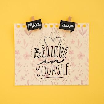 Лист бумаги с положительным сообщением