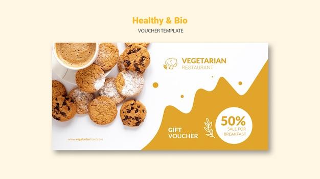 Шаблон ваучера для вегетарианского ресторана