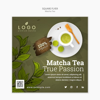 Шаблон листовки чая чая матча