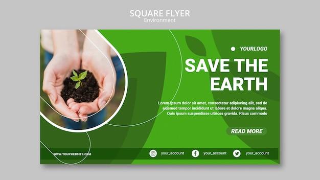 Сохраните окружающую среду земли руками, держащими растение в грязи