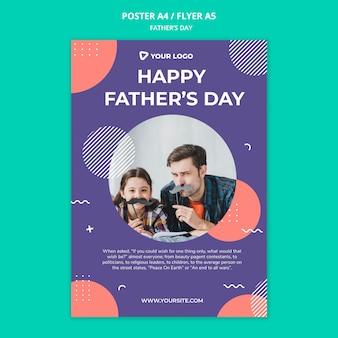 Счастливый день отца концепции макет плаката