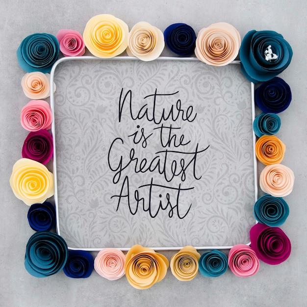 Макет декоративной цветочной рамки с позитивным сообщением