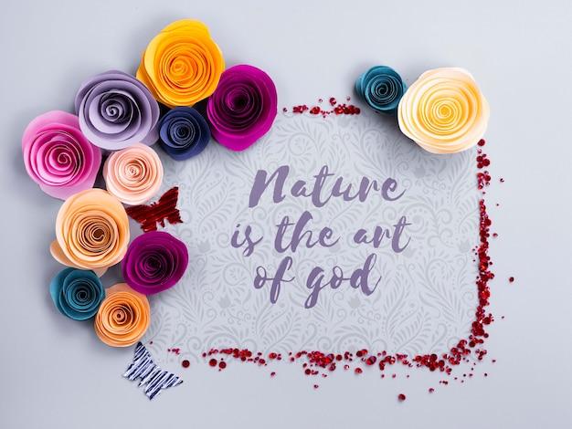 メッセージとカラフルな花のフレーム