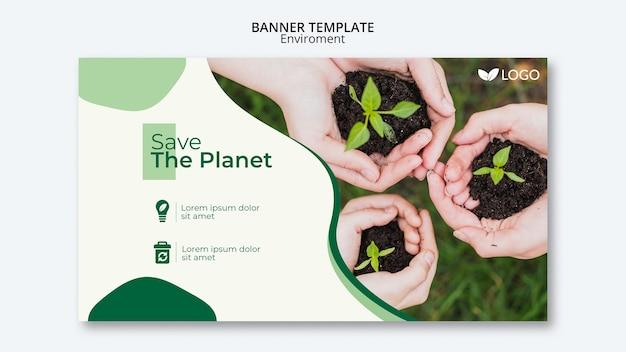 植物を保持している手で惑星バナーテンプレートを保存する