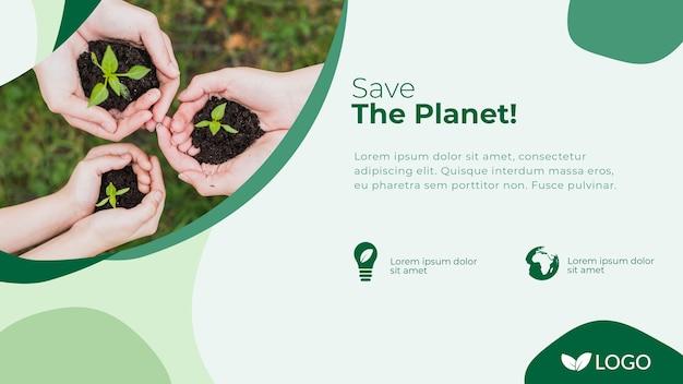 手と植物で惑星バナーテンプレートを保存する