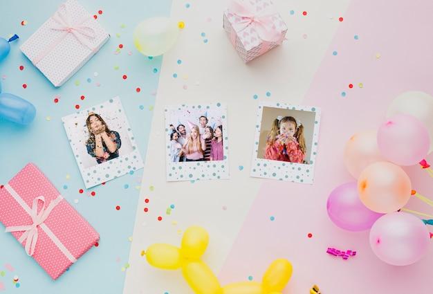 Разноцветные воздушные шарики с конфетти