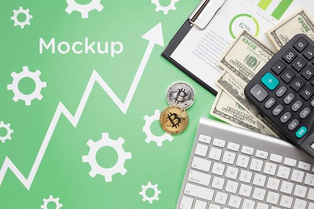 暗号通貨とお金のトップビュー