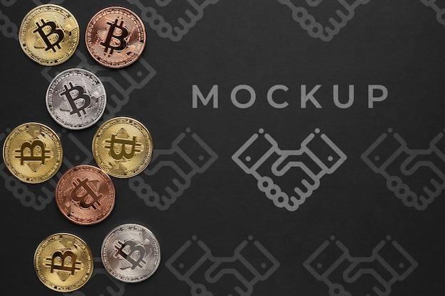 モックアップ付きのカラフルな暗号通貨