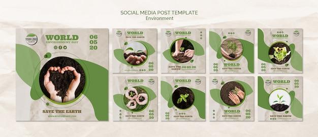 Шаблон поста в социальных сетях всемирного дня окружающей среды