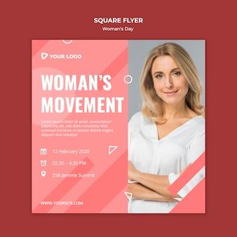 Шаблон флаера движения женщины квадратный