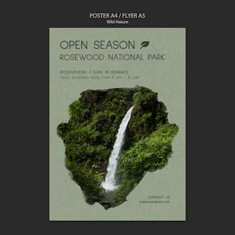 Шаблон плаката национального парка розвуд с водопадом
