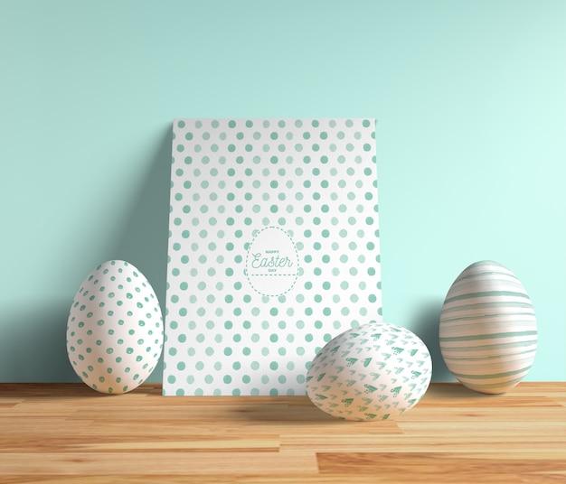 卵の横にある高角度イースターカード