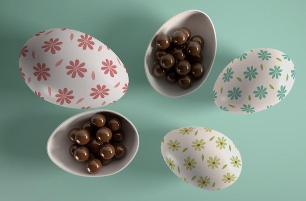 チョコレート菓子が入った上から見た卵