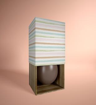ボックスに高角度のチョコレートエッグ