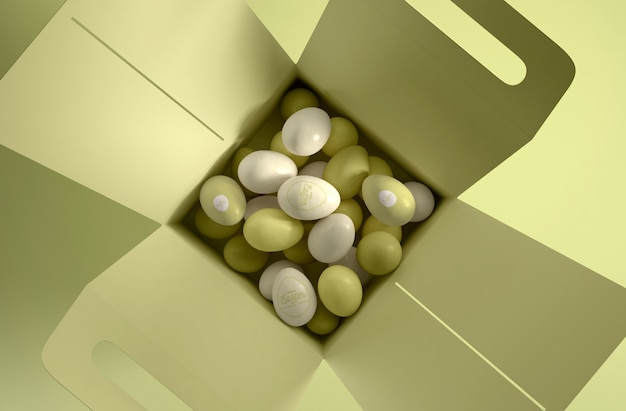 白と緑の卵とフラットレイアウトボックス