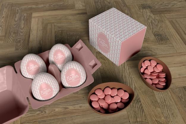 キャンディー付きの高角チョコレートエッグと卵付き型枠