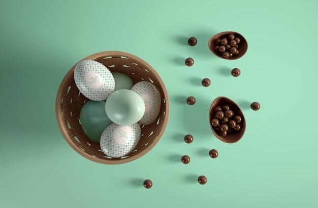 イースターの日のトップビューの卵