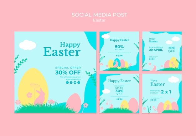 Пост в социальной сети с пасхальной распродажей