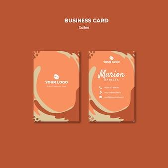 Кофейная концепция макет визитной карточки