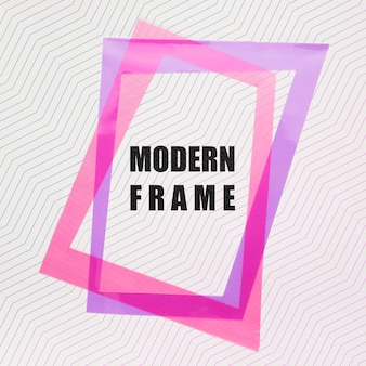 ピンクと紫のモダンなフレームのモックアップ