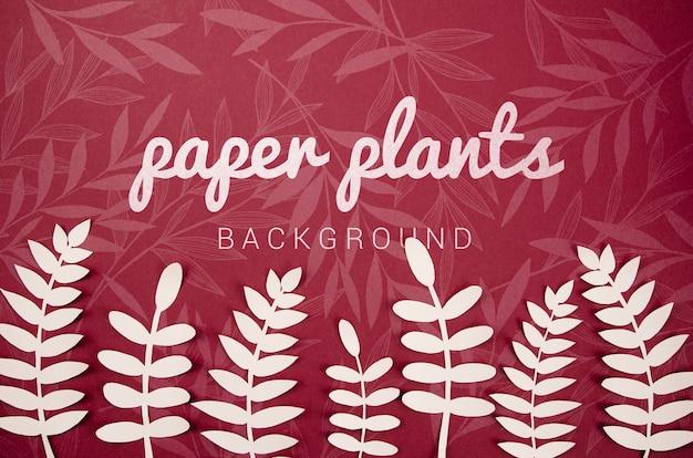 シダの葉と紙植物の背景