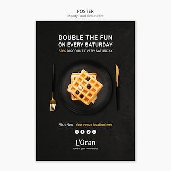 Шаблон постера для ресторана с капризной едой