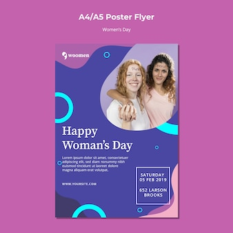 Красочный женский день плакат шаблон