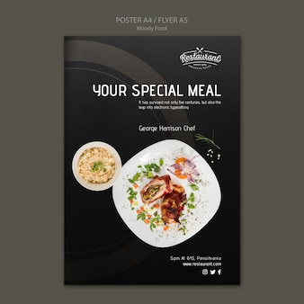 不機嫌そうな食べ物レストランポスターコンセプト