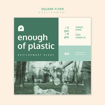Экологический квадратный флаер концепция макет