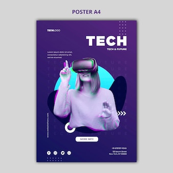 Технический и будущий шаблон концепции плаката