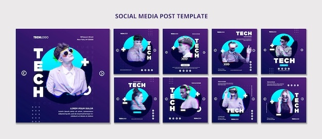 技術と将来のソーシャルメディア投稿テンプレートコンセプトテンプレート