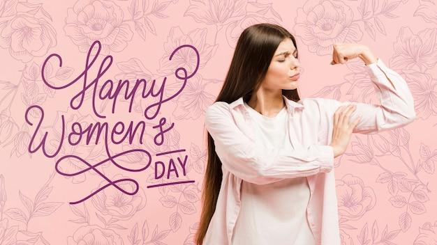 Средний снимок девушка позирует на женский день