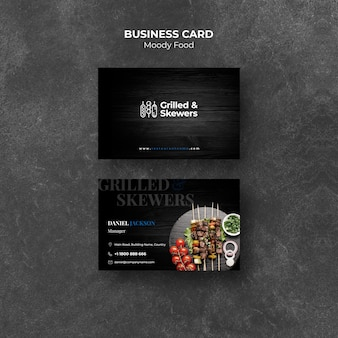 Шаблон визитки на гриле стейк и овощи