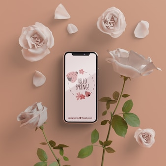 モバイルデバイスの概念と花のフレーム