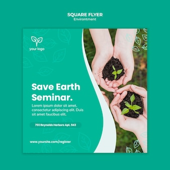 Шаблон флаера с дизайном окружающей среды