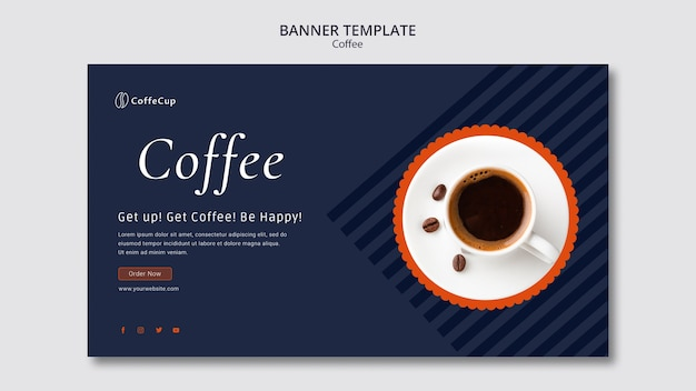 コーヒーのコンセプトを持つバナーテンプレート