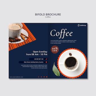 コーヒーとパンフレットのテンプレート