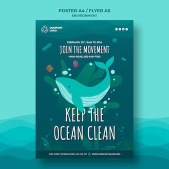 Держите океан чистый шаблон плаката с китом