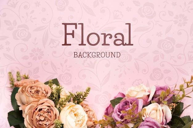 春のバラの花束のトップビュー