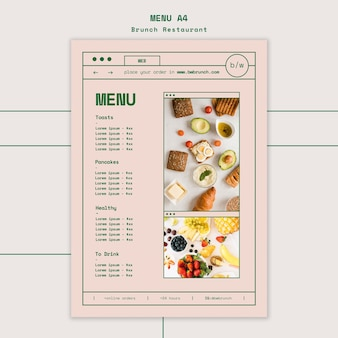 Бранч шаблон меню ресторана