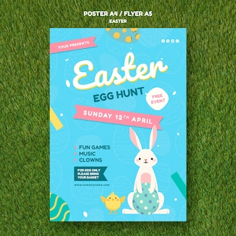 イースターの日の概念とポスターテンプレート