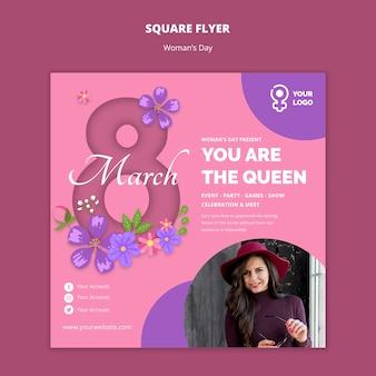 Шаблон смайлик женщина квадратный флаер