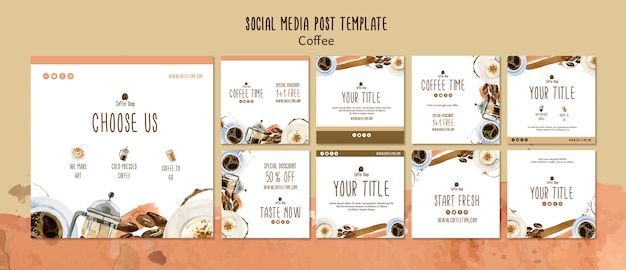 ソーシャルメディアポストテンプレートのコーヒーコンセプト