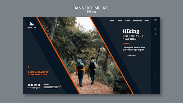 ハイキングをテーマにしたバナーテンプレート