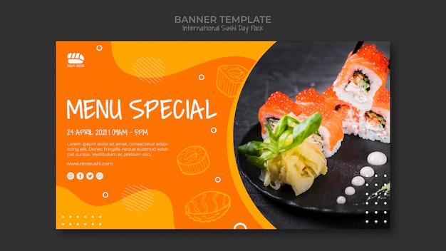 寿司レストランのバナーテンプレート